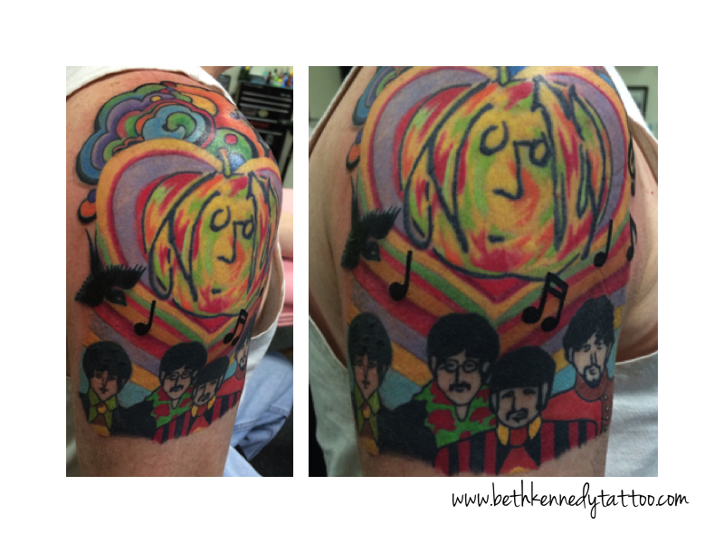 Bright psychedelic Beatles tattoo - Beth Kennedy