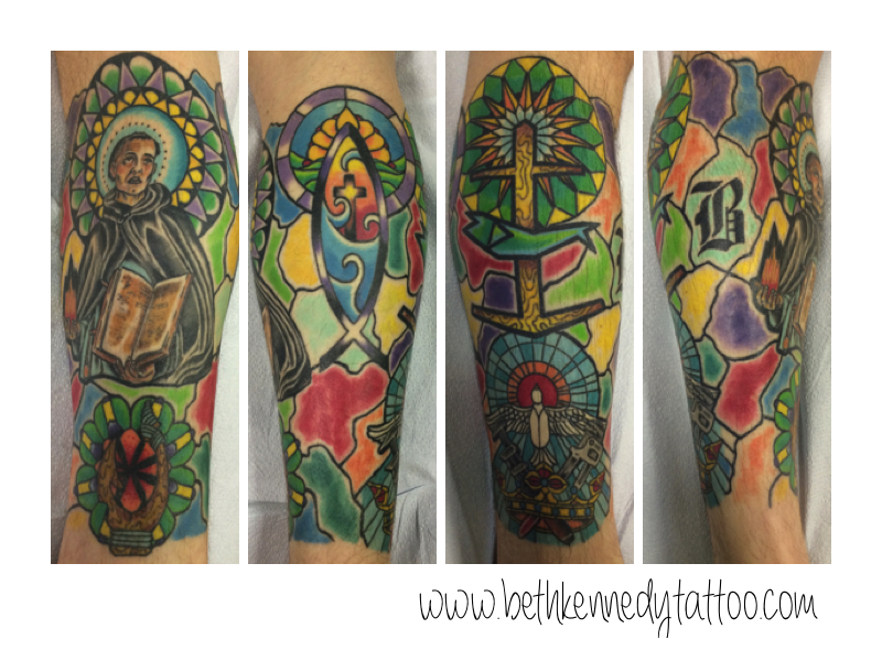 Montage of colorful stained glass with religious themes - Beth Kennedy