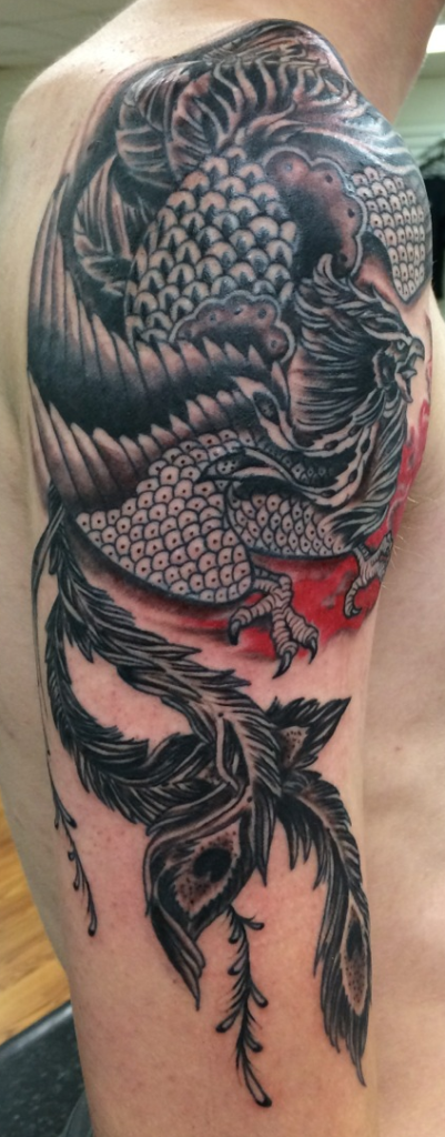 traditional japanese phoenix bird in black grey and red - Beth Kennedy