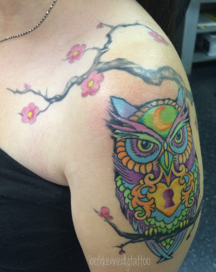 Bright colorful owl with cherry blossoms - Beth Kennedy