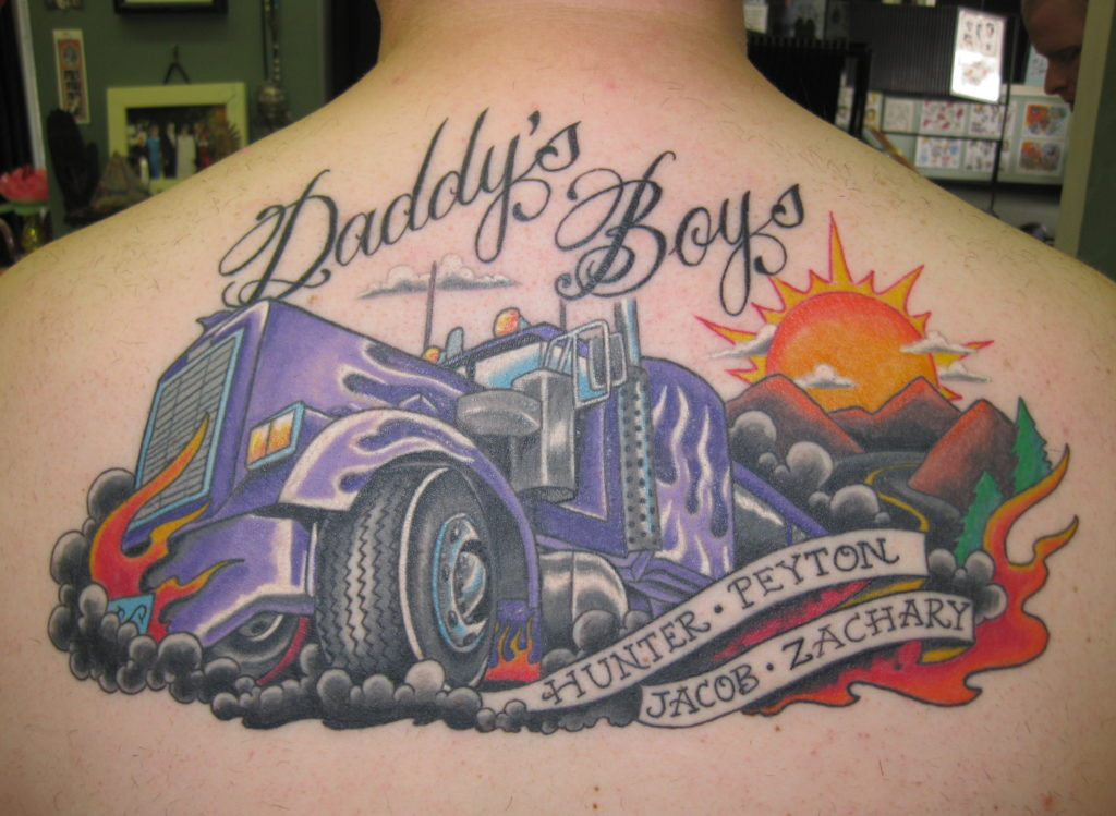 18 wheeler tattoo for a truck driver who loves his sons - Beth Kennedy